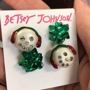🎁2 Pair BETSEY JOHNSON Holiday Earrings  NWT!